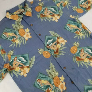 Tommy Bahama Hawaiian Shirt Pineapple Pinup Girl L